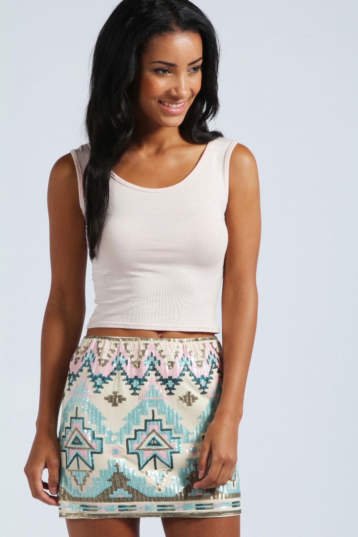 Boohoo Monica Sequin Aztec Mini Skirt In Stone
