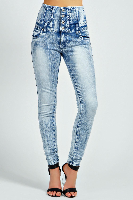 Boohoo Womens Ladies Jayah Acid Wash High Waist Denim Jeans In ...