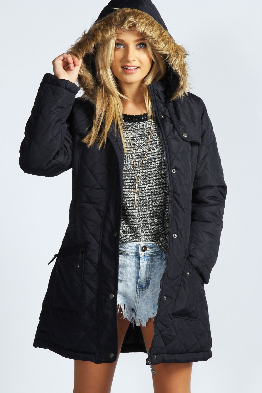 Womens Navy Parka Jacket