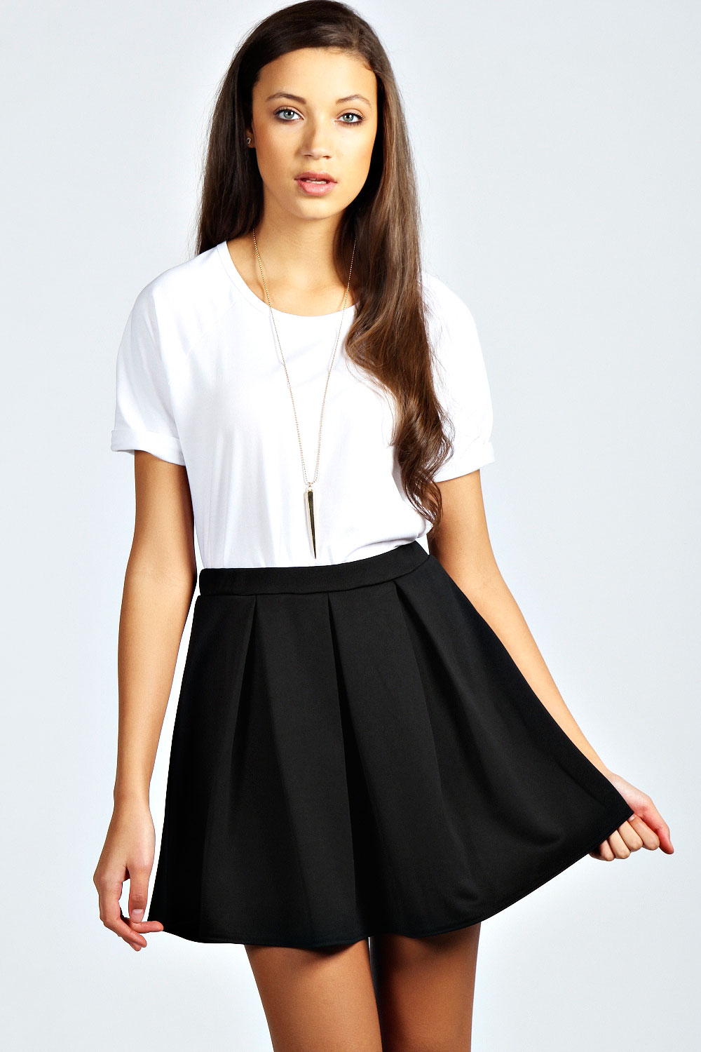 Boohoo Womens Ladies Aleena Box Pleat Scuba Skater Skirt | eBay