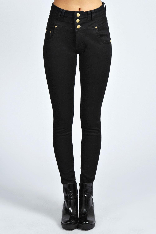 Boohoo Womens Ladies Mollie 3 Button High Waist Skinny Jeans   eBay
