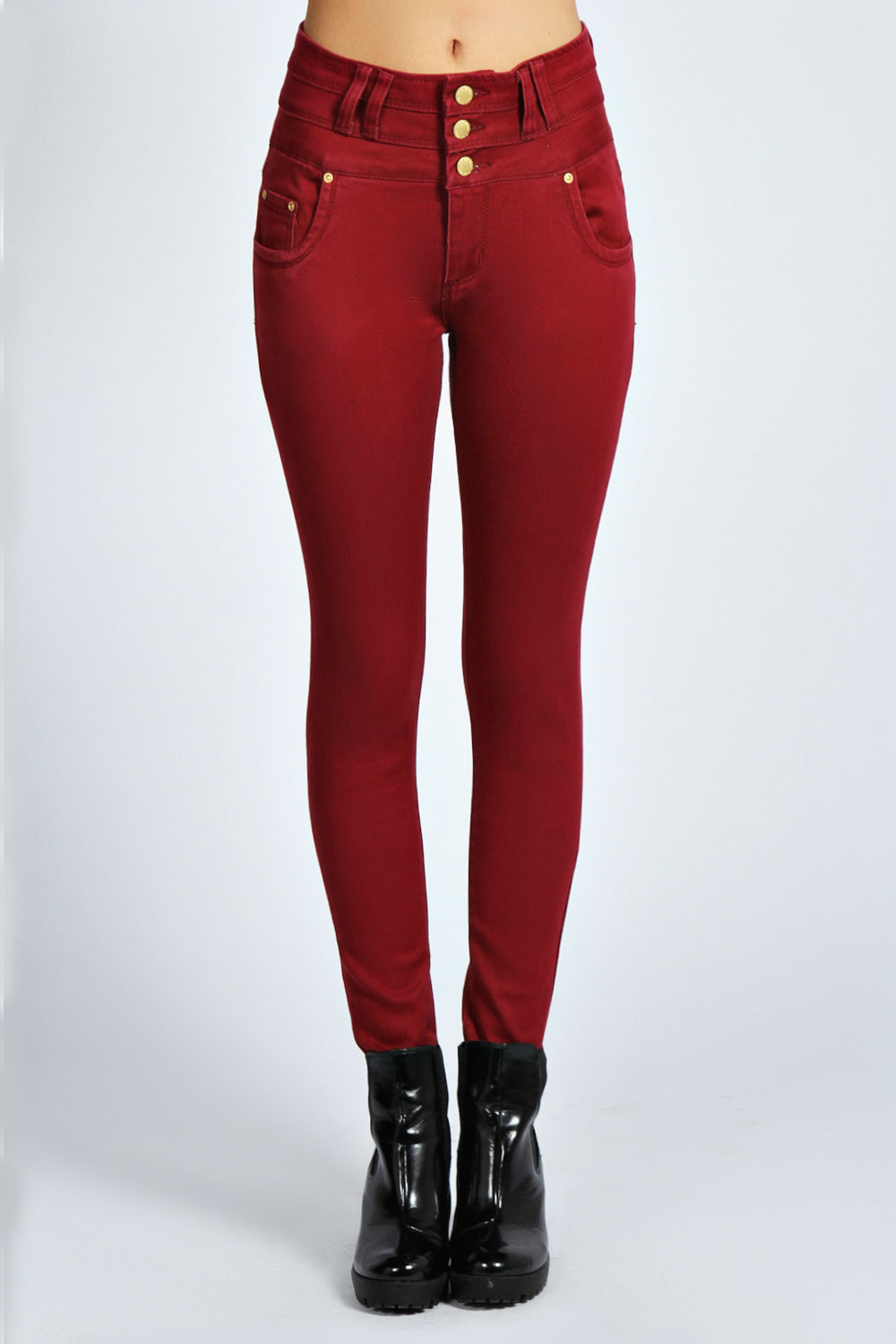 Collection High Waisted Maroon Jeans Pictures - Reikian
