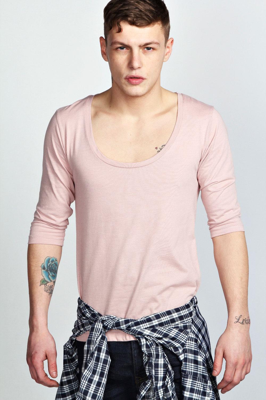 Boohoo mens basic 3 4 sleeve scoop neck top t shirt ebay for Scoop neck t shirt