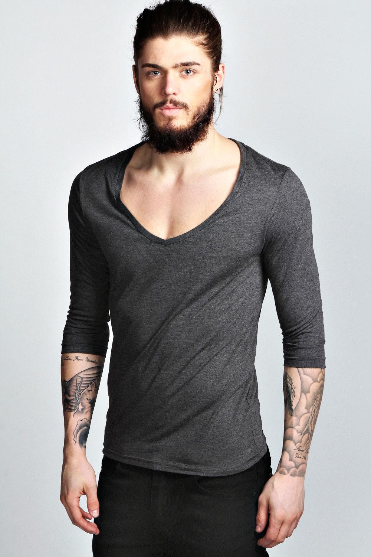Boohoo Mens Basic 3/4 Sleeve Deep V Neck Cotton T Shirt | eBay