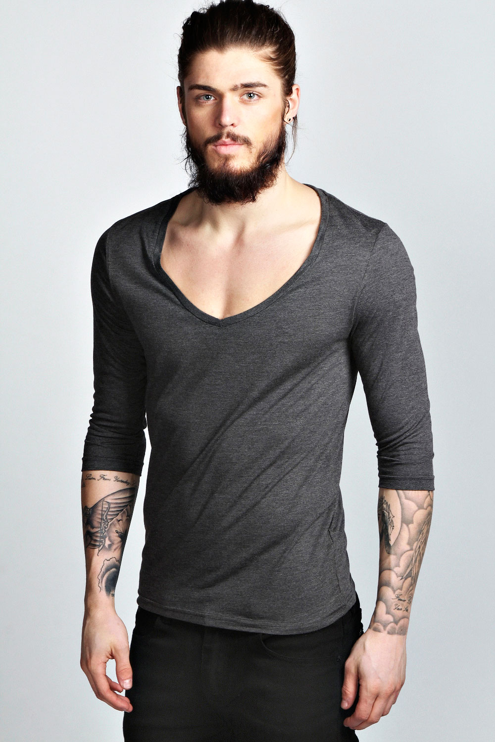 boohoo mens basic 3 4 sleeve deep v neck cotton t shirt ebay