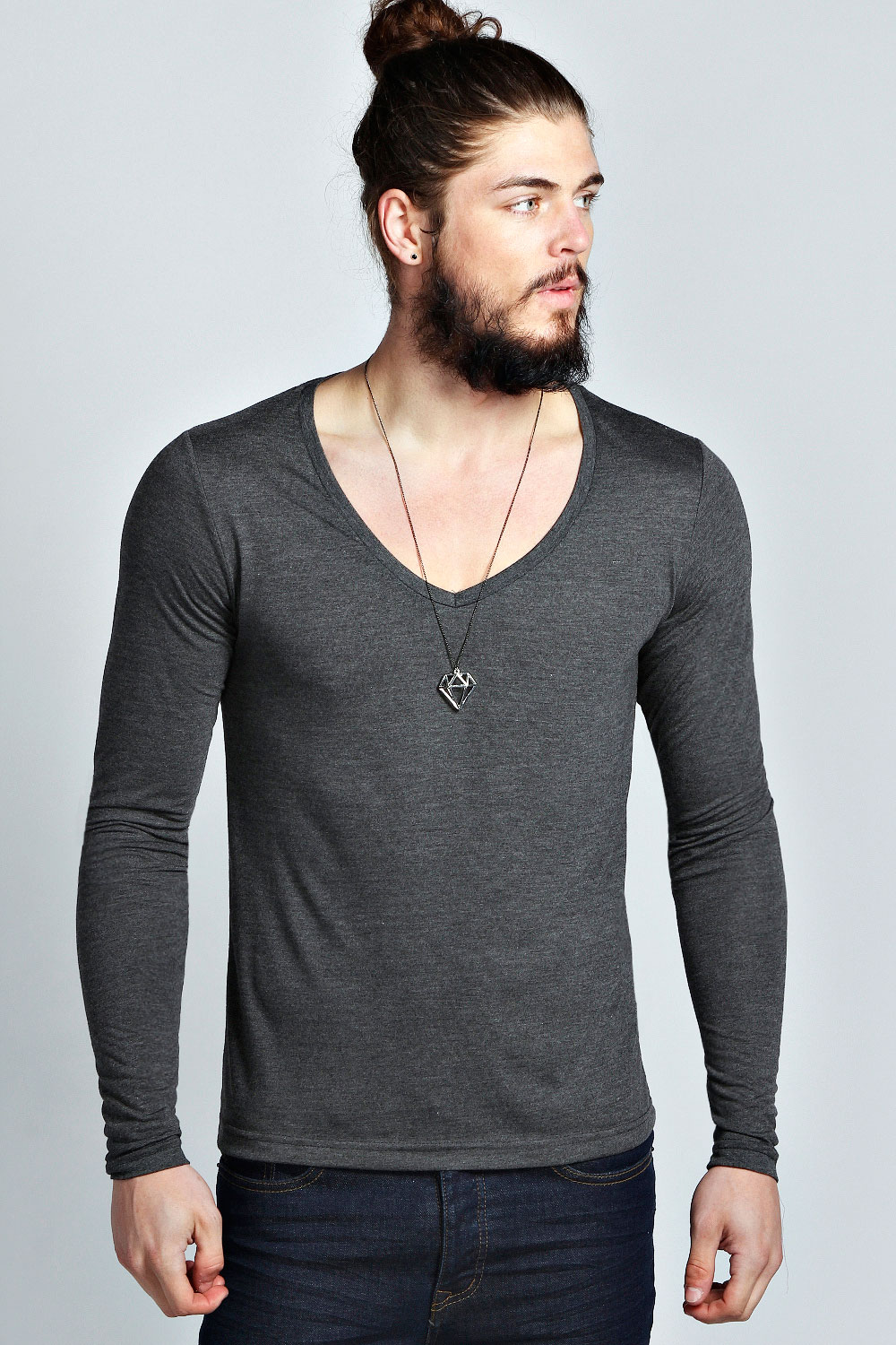 Boohoo Mens Basic Long Sleeve Deep V Neck T Shirt | eBay