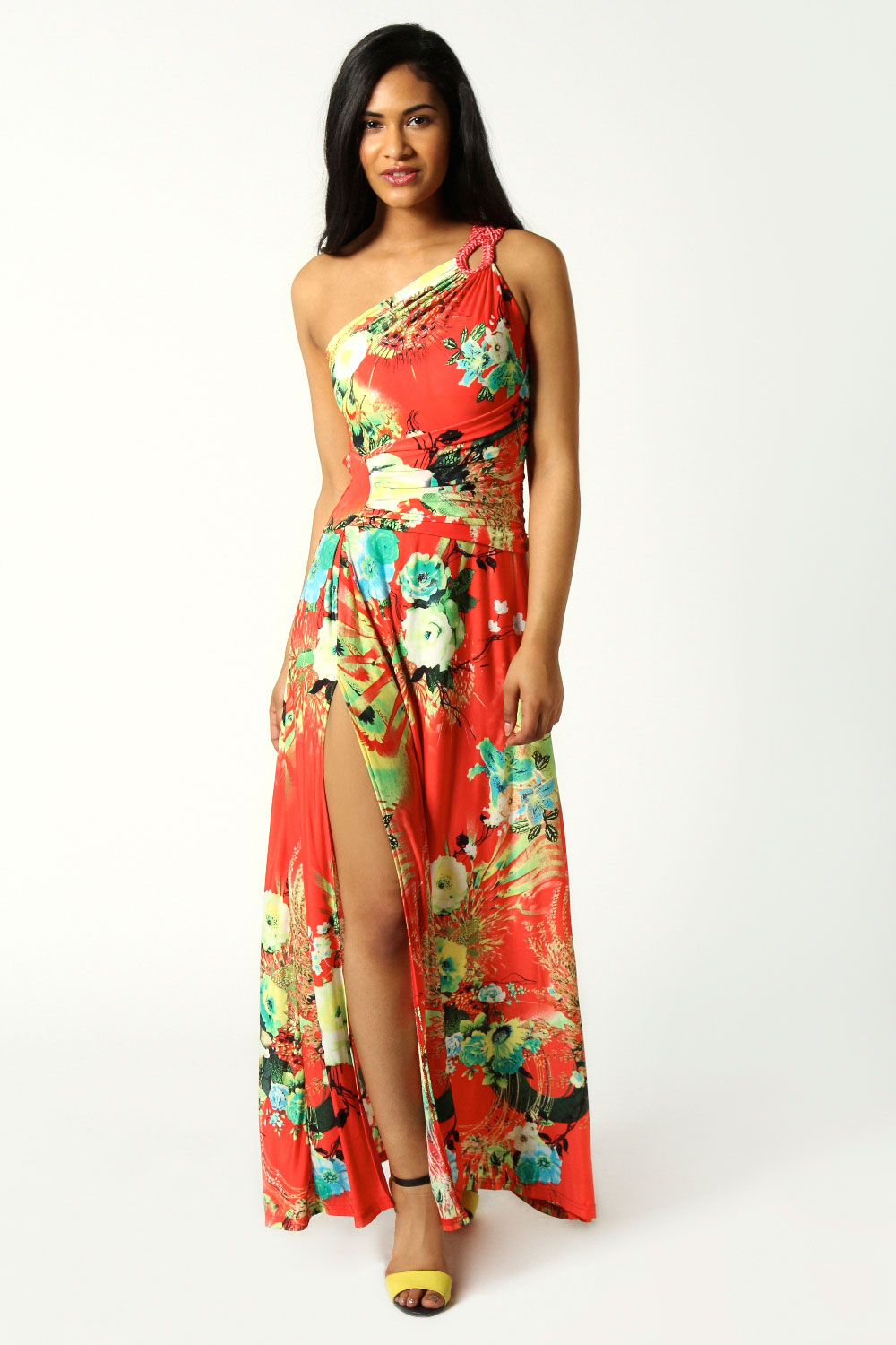 Boohoo maggie one shoulder printed slinky maxi dress in for Boohoo dresses for weddings