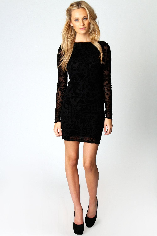 Boohoo Zoe Flock Long Sleeve Bodycon Dress in Black | eBay