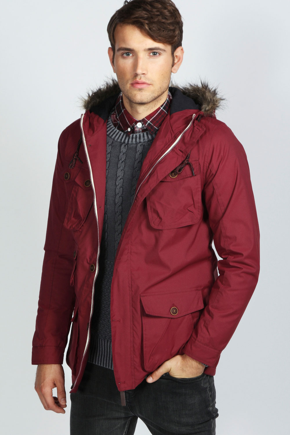 Boohoo Mens Nylon Jacquard Multi Pocket Parka Jacket In Burgundy ...