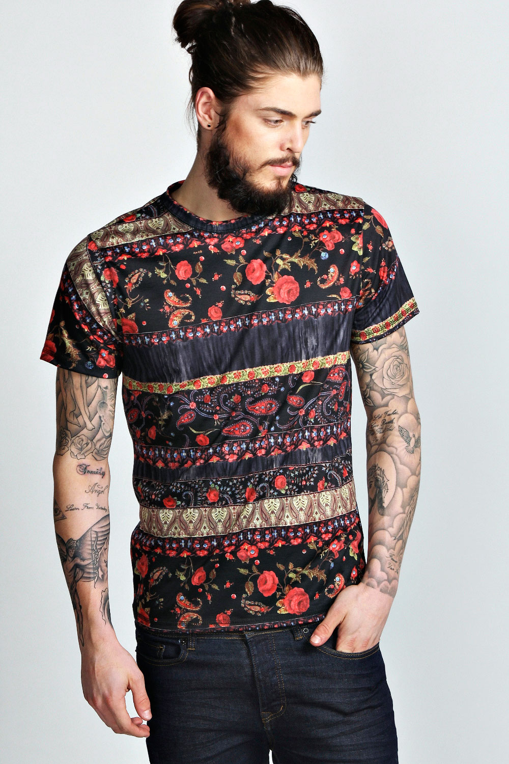 Boohoo mens floral paisley printed short sleeve top t for Printed shirts for men