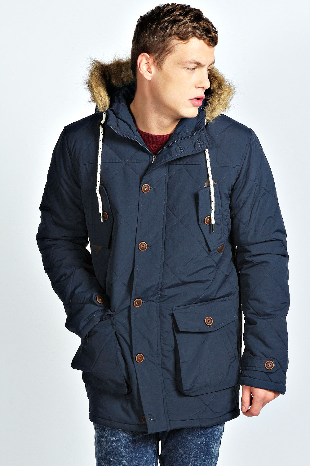 Mens Navy Parka Coat - Sm Coats