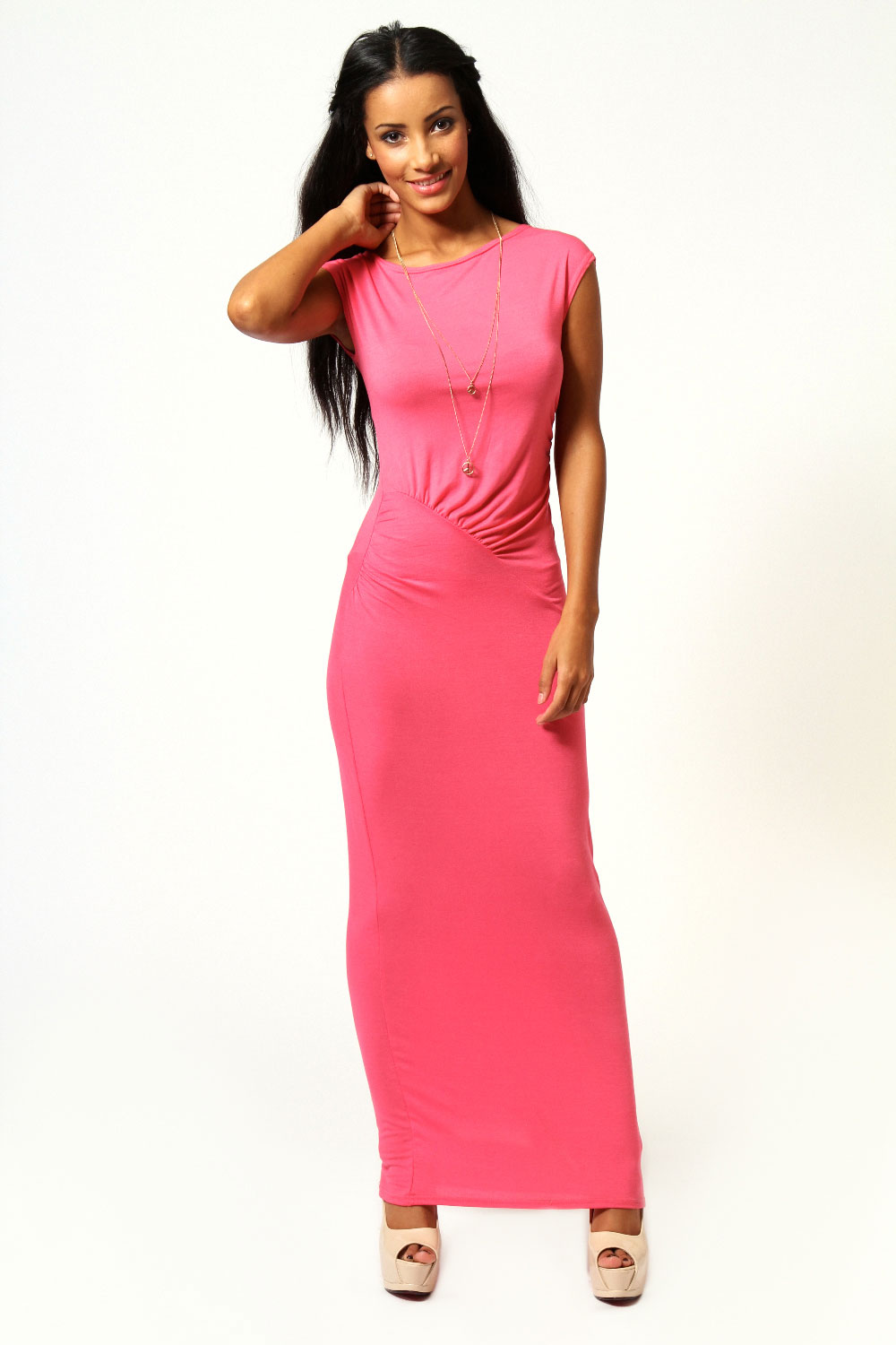 Boohoo-Womens-Ladies-Philipa-Cap-Sleeve-Ruched-Side-Detail-Maxi-Dress