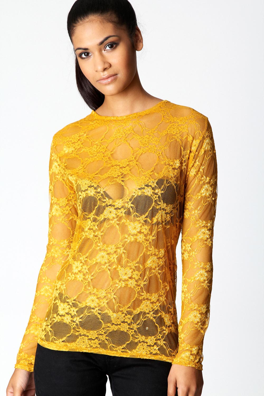 Boohoo-Joelle-Long-Sleeve-Lace-Blouse-in-Mustard-BNWT
