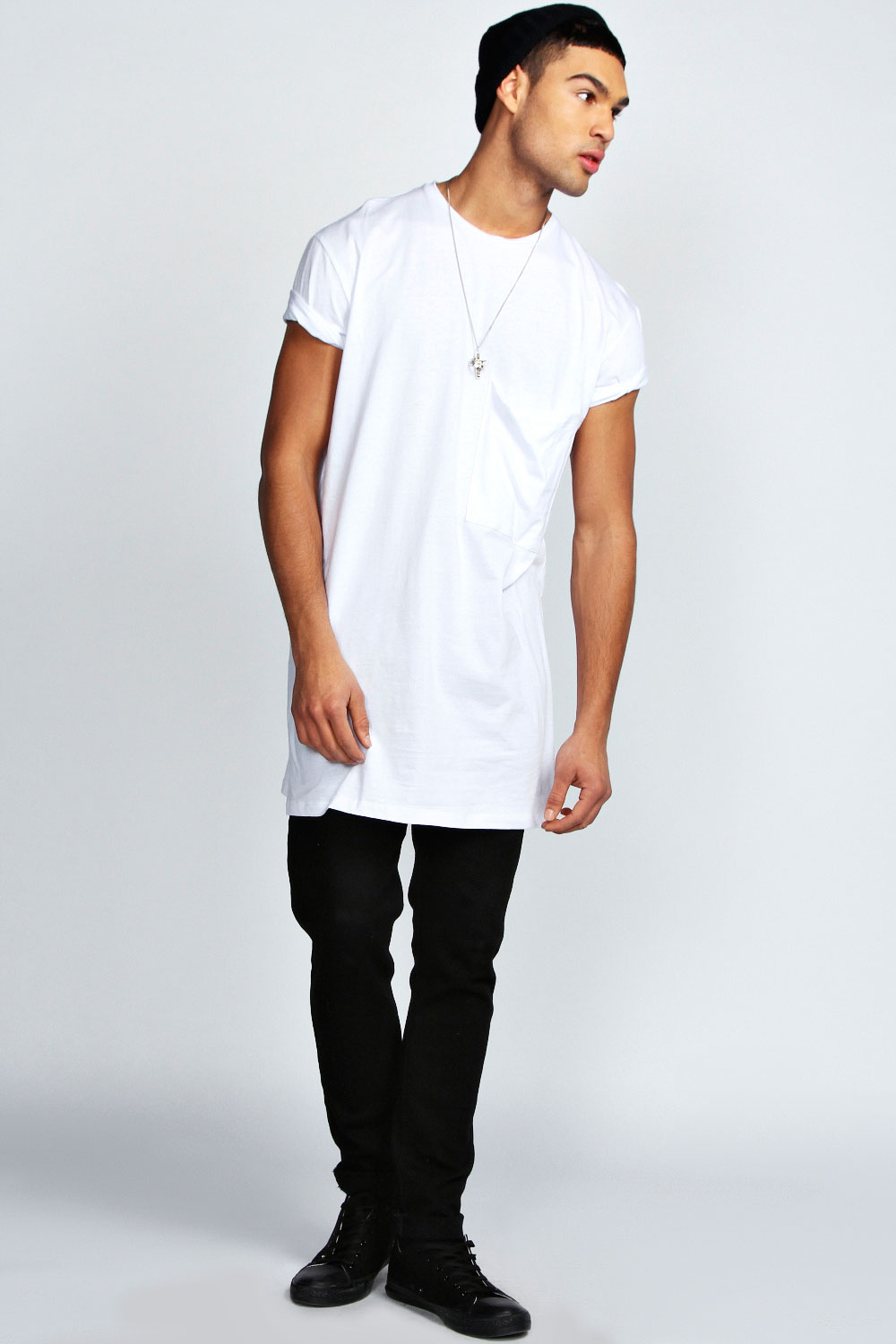 Boohoo Mens Oversized Pocket Long Line 100 % Cotton Tee Top T Shirt