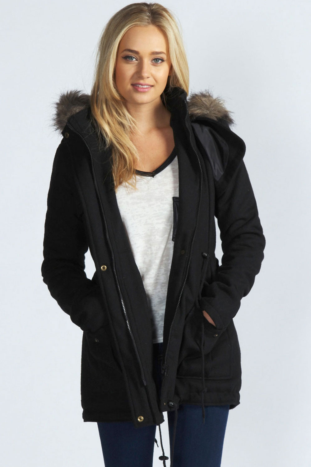 Boohoo Leah Wool Mix Draw Cord Waist Parka Jacket With Faux Fur Hood In Black