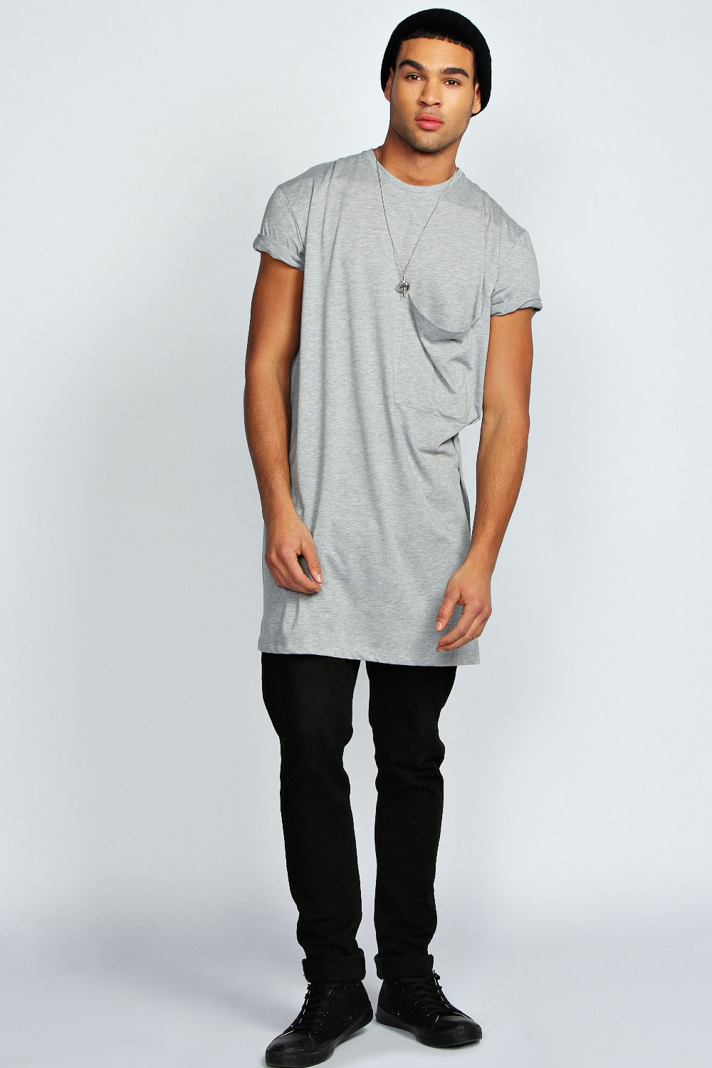 mens oversized pocket long line 100 cotton tee top t shirt ebay. Black Bedroom Furniture Sets. Home Design Ideas