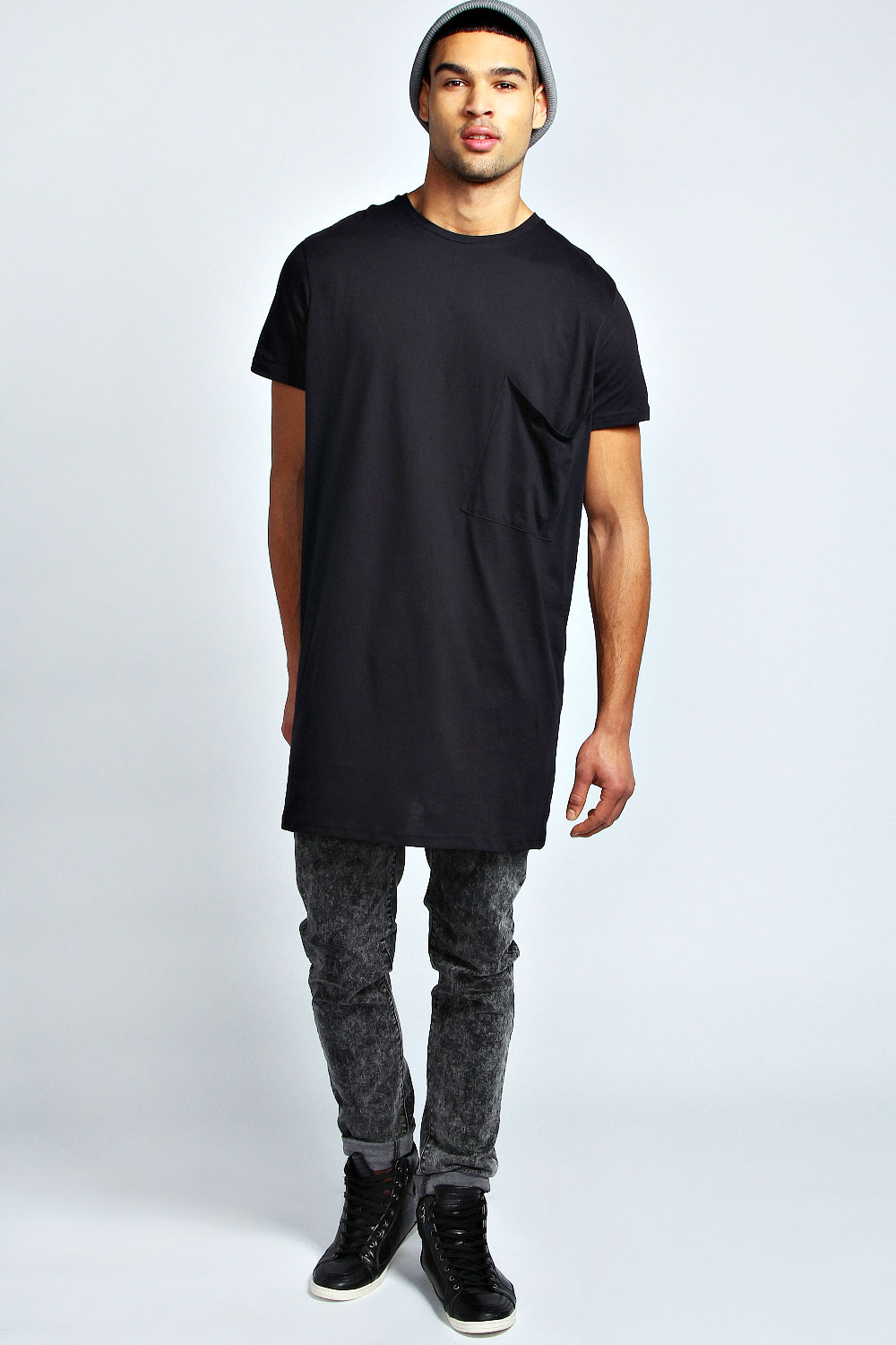 boohoo mens oversized pocket long line 100 cotton tee. Black Bedroom Furniture Sets. Home Design Ideas