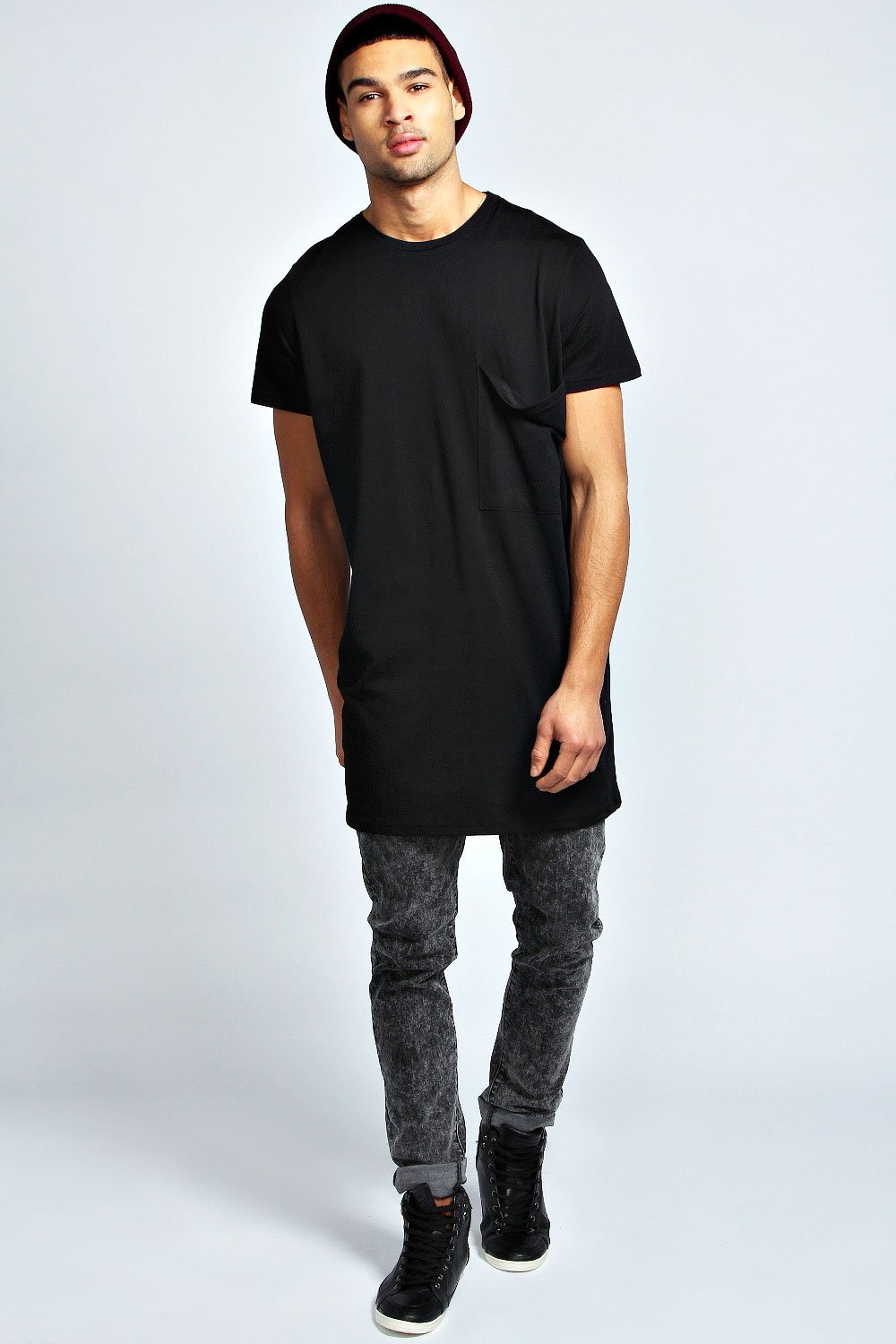 Boohoo mens oversized pocket long line 100 cotton tee for Mens 100 cotton t shirts
