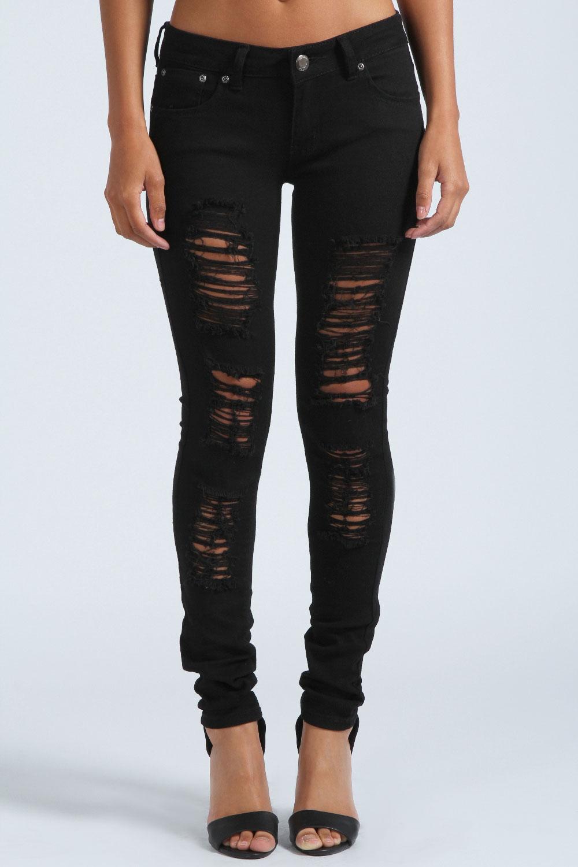 boohoo chloe zerrissen eng anliegend jeans schwarz hosen. Black Bedroom Furniture Sets. Home Design Ideas