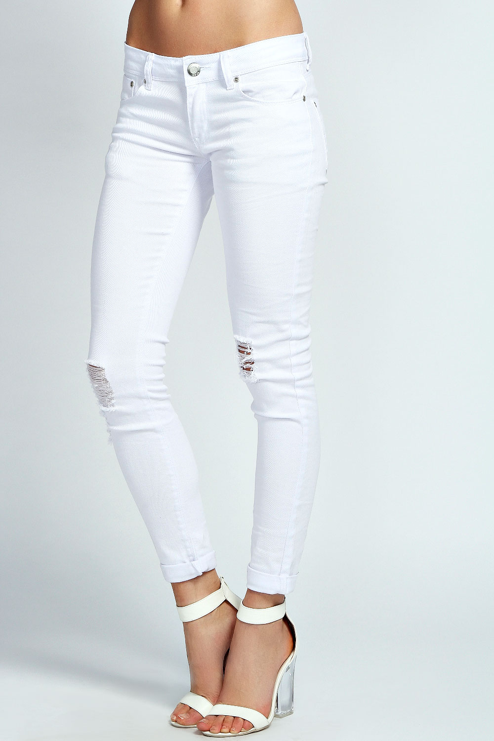 Boohoo Womens Ladies Alesha Open Knee Skinny White Jeans In White ...