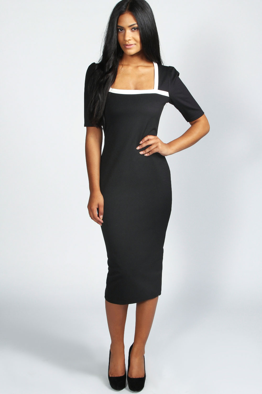 Dress Square Double Thai 100 Viscose: Boohoo Dotty Square Neck Midi Bodycon Dress In Black