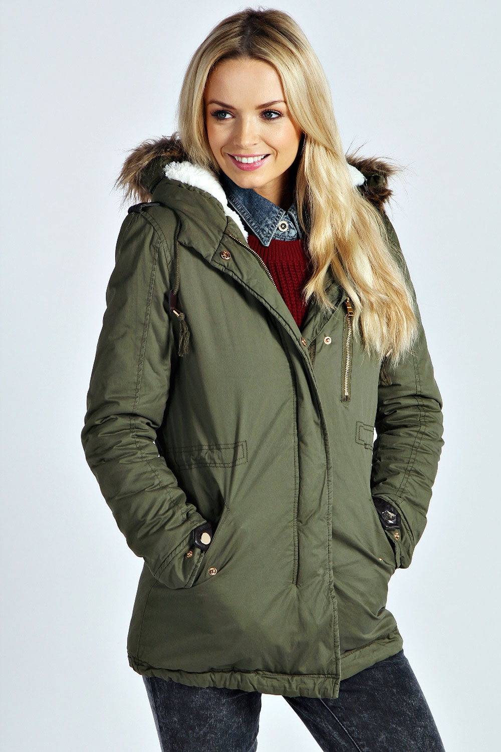 Boohoo Womens Ladies Millie Sherpa Lined Hooded Parka Ebay