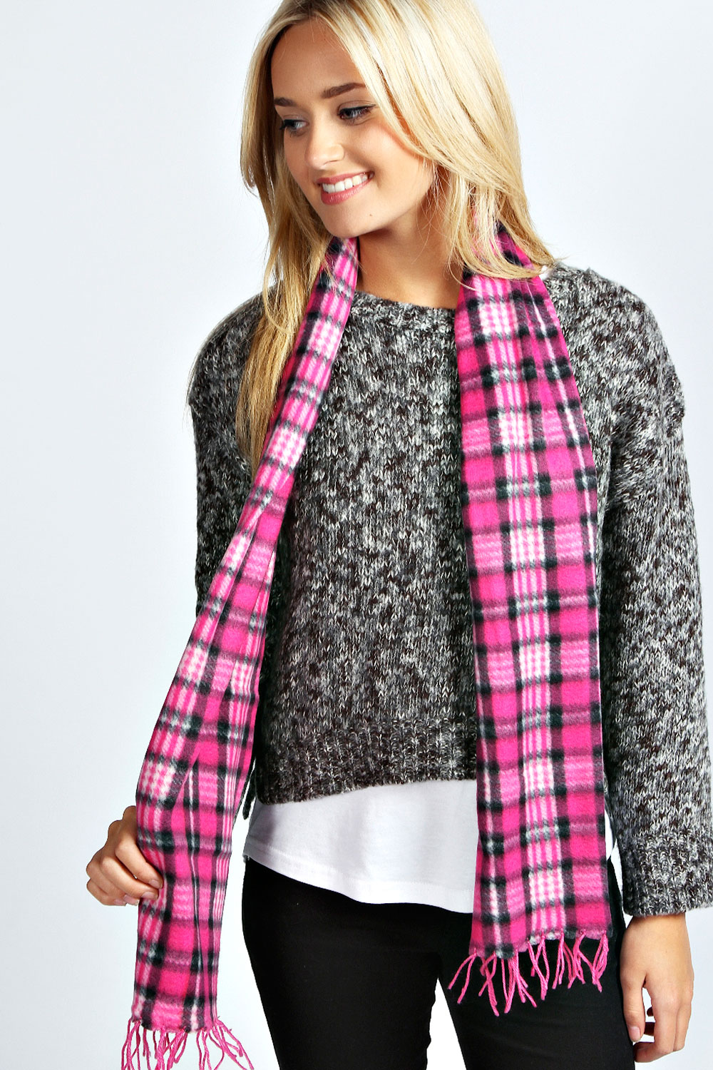Boohoo-Womens-Ladies-Saara-Checked-Tartan-Fleece-Scarf-One-Size