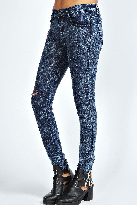 boohoo riley ripped knee acid wash skinny jeans ebay