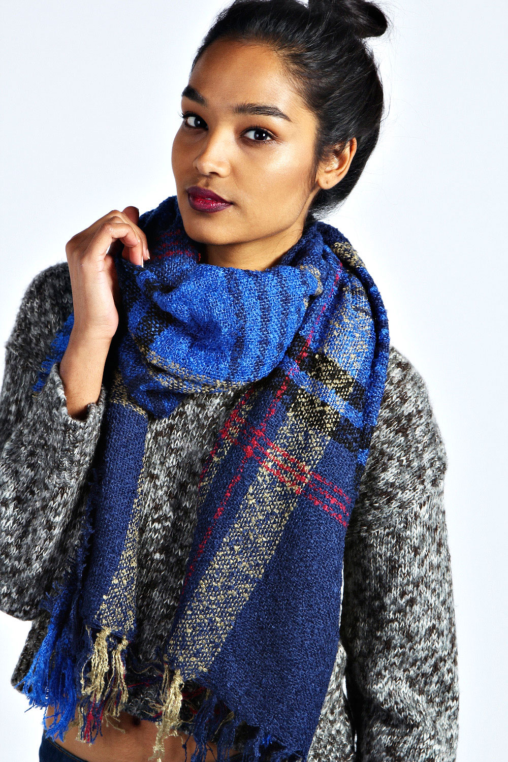 Boohoo-Sophie-Plaid-Woven-Scarf-One-Size