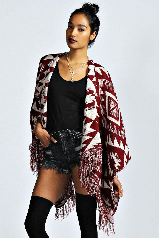 Boohoo-Emma-Aztec-Knit-Tassel-Shawl