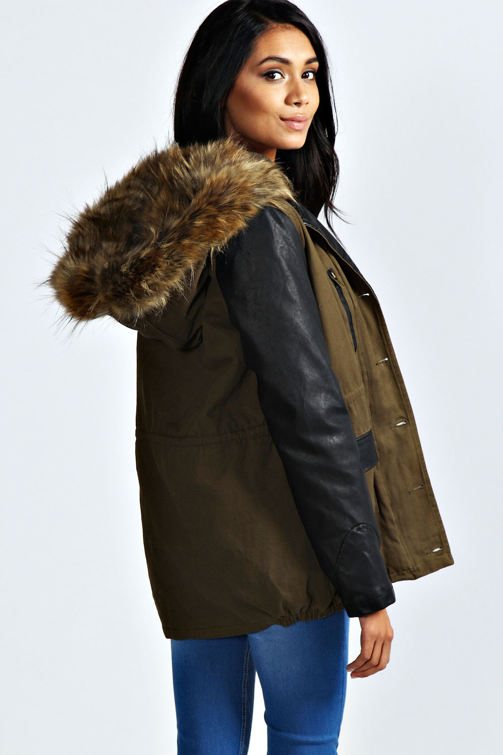 Ladies Khaki Parka Coat - Coat Nj