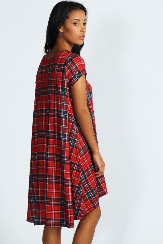 Boohoo Womens Ladies Simone Tartan Swing Dress In Red Ebay