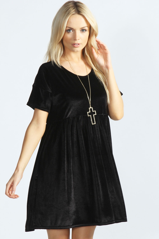 Boohoo Womens Ladies Verity Velvet Smock Dress Ebay