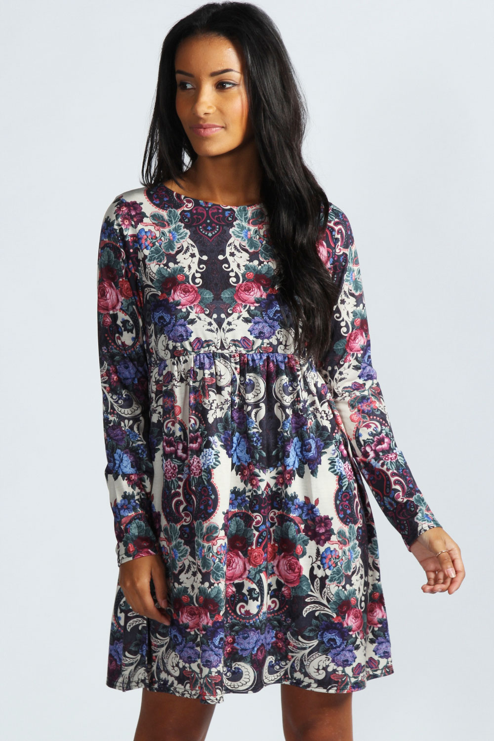 Boohoo-Rose-Floral-Long-Sleeve-Smock-Dress-In-Cream