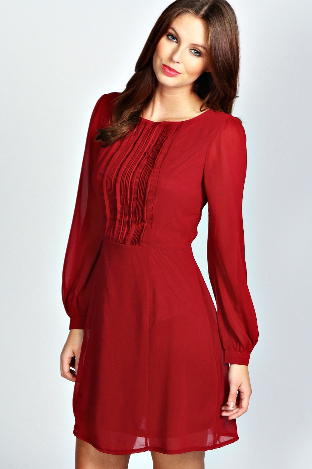 Boohoo isabel long sleeve chiffon fit and flare dress ebay for Long sleeve wedding guest dress