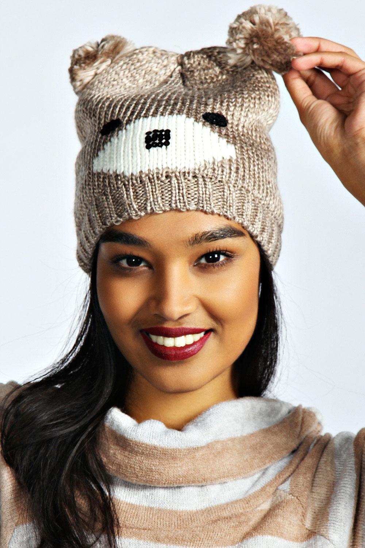 Boohoo-Womens-Ladies-Tallulah-Bear-Bobble-Beanie-Hat-One-Size