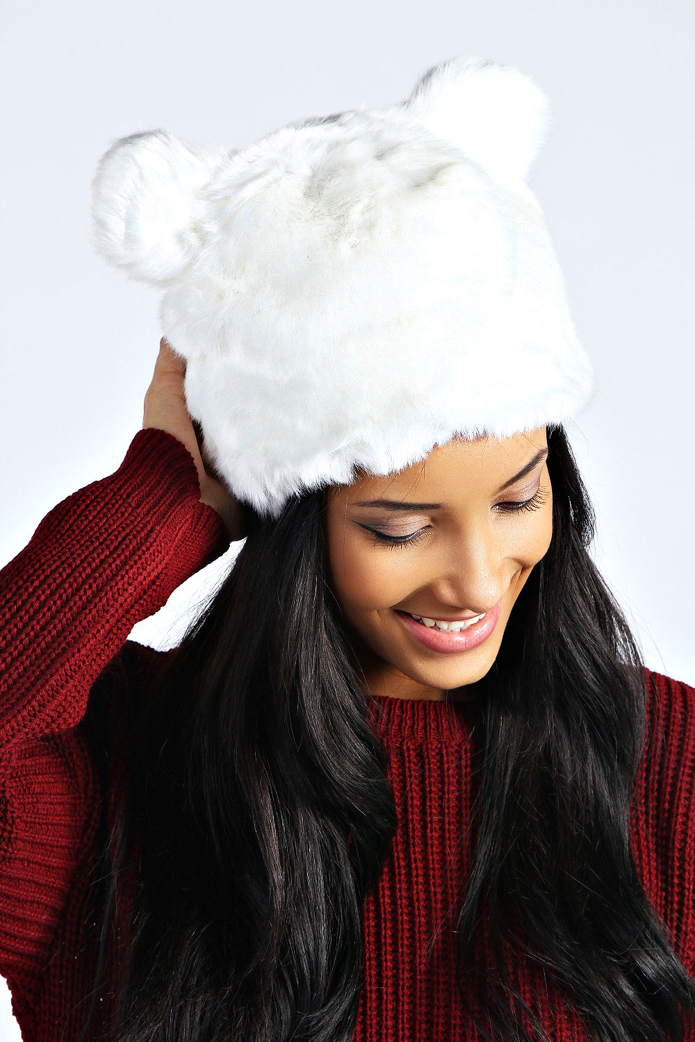 boohoo womens jade faux fur cossack hat with ears