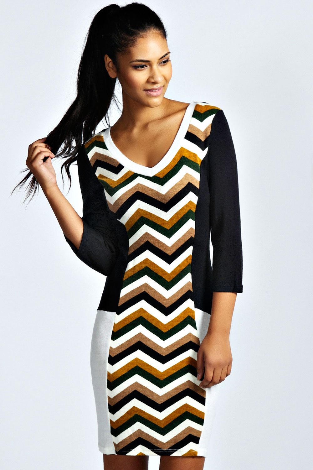 Boohoo-Womens-Ladies-Ellen-3-4-Sleeve-Crew-Neck-Zig-Zag-Knitted-Dress