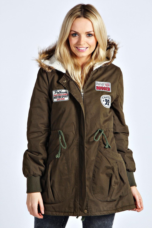 Boohoo Melanie Faux Fur Trim Hood Sherpa Lined Motif Parka Jacket ...