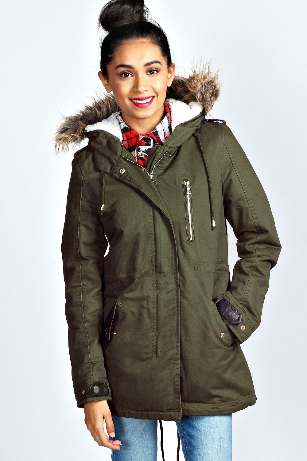 Boohoo Womens Ladies Cate Cotton Sherpa Lined Hooded Parka Jacket ...