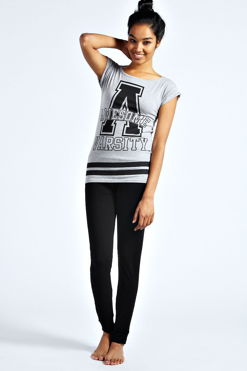 Boohoo-Roxy-Awesome-Varsity-Top-And-Leggings-In-Multi