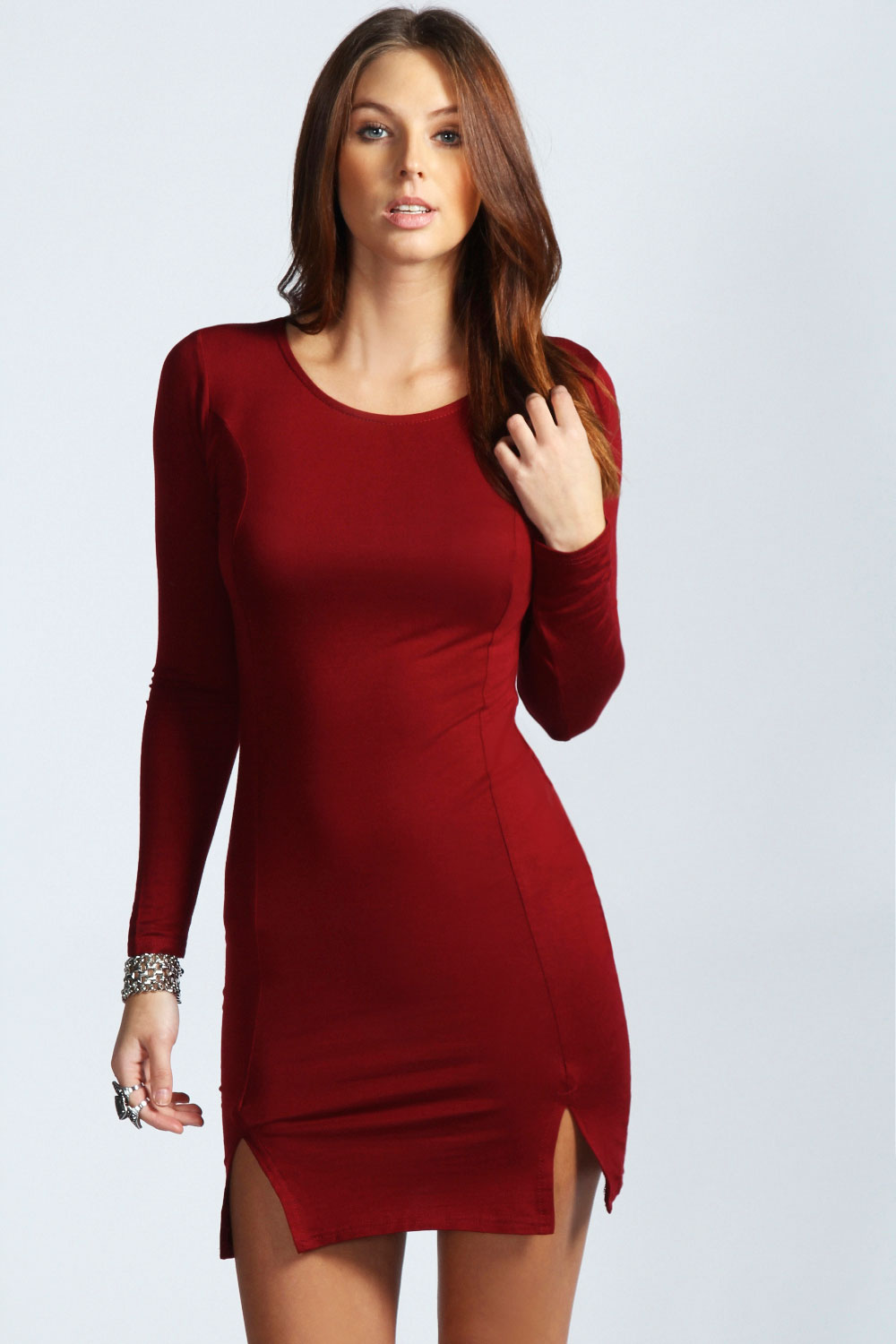 Details about Boohoo Sophie Long Sleeve Front Split Bodycon Dress