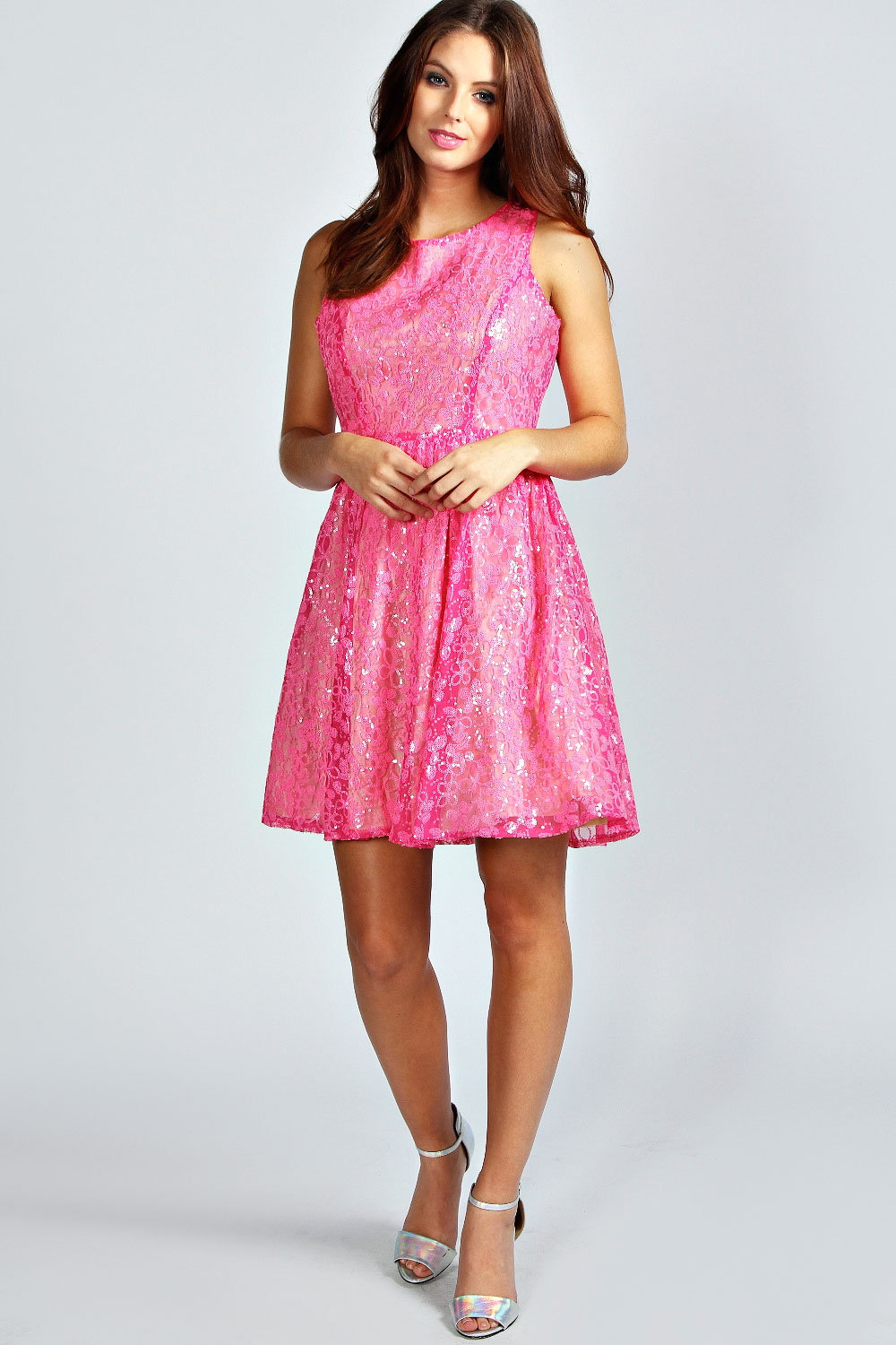 Boohoo Nadia Neon Floral Sequin Skater Dress In Pink | eBay