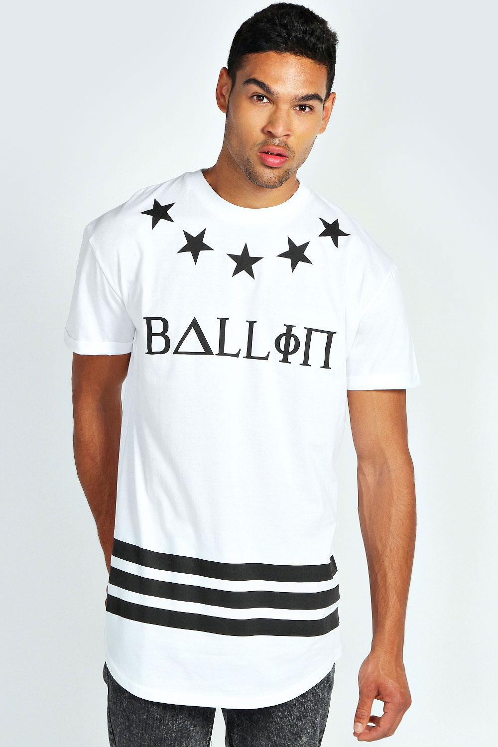 Boohoo mens ballin longline printed short sleeve crew neck for Best online tee shirt printing