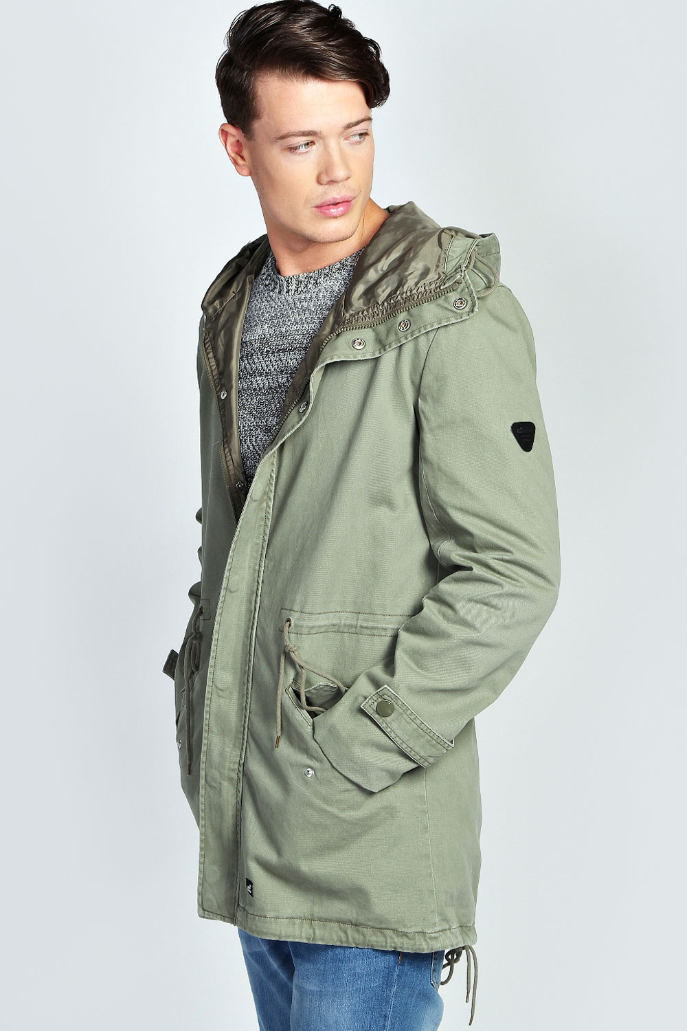 Boohoo Mens Lightweight Cotton Festival Cotton Parka Jacket in ...