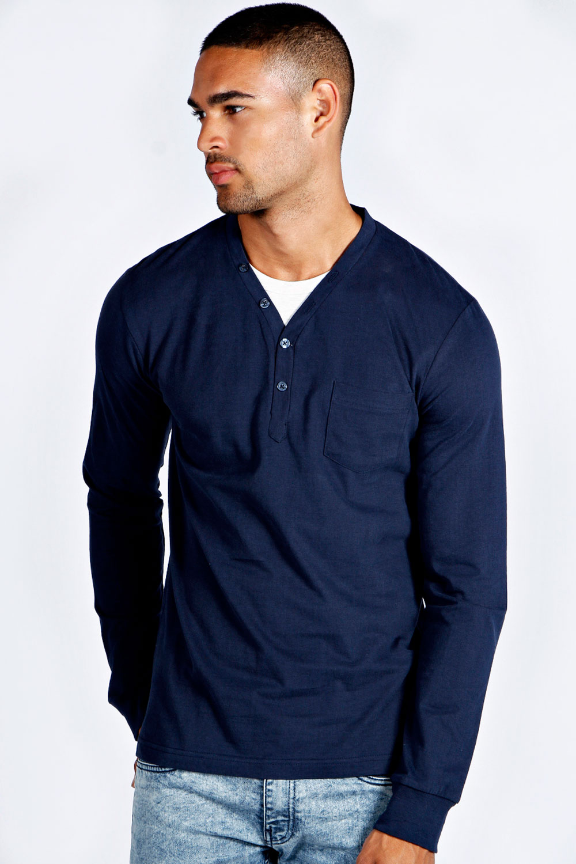 Boohoo Mens Long Sleeve Button V Neck Plain Casual T Shirt ...
