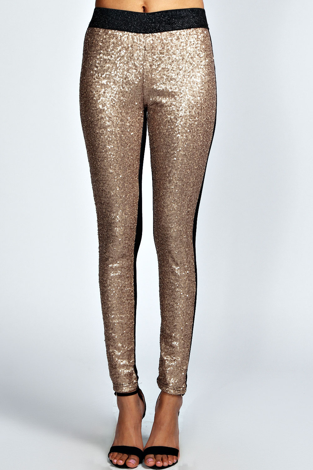 5214cd860a4 Image is loading Boohoo-Sassy-All-Over-Sequin-Front-Leggings