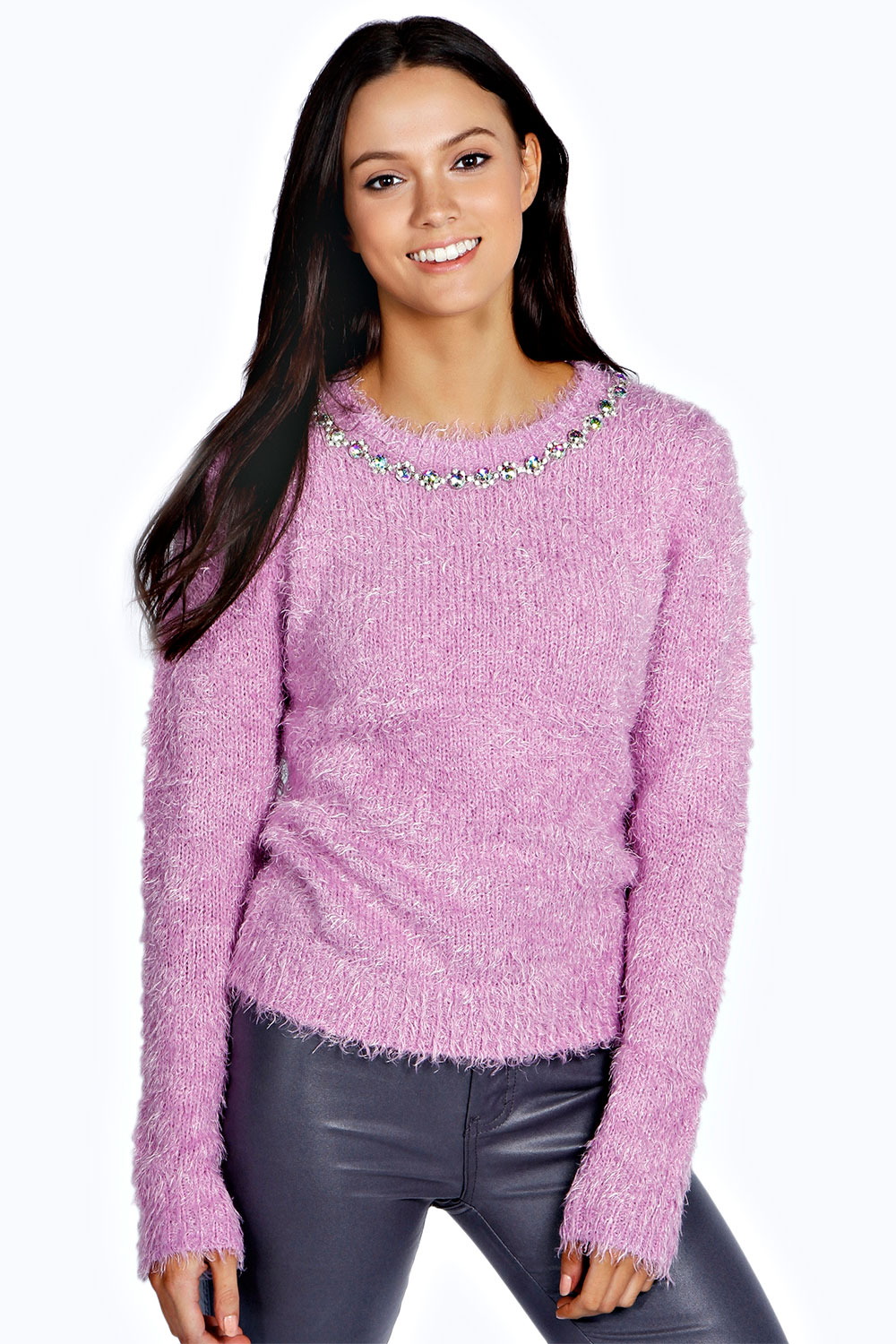 Boohoo Womens Ladies Dems Fluffy Jumper Sweater Pullover ...
