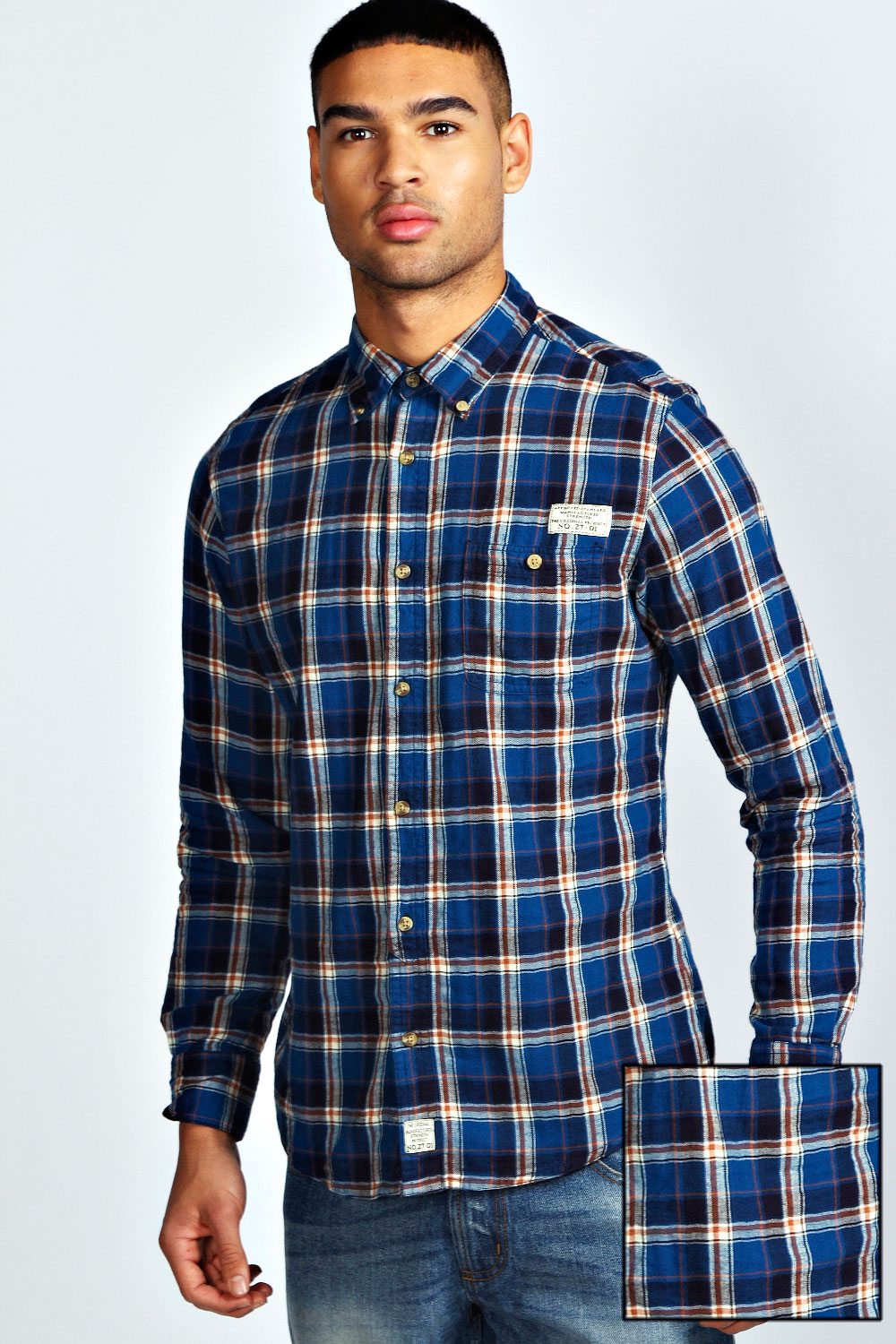 Boohoo-Mens-Single-Pocket-Long-Sleeve-Check-Cotton-Top-Shirt-In-Blue