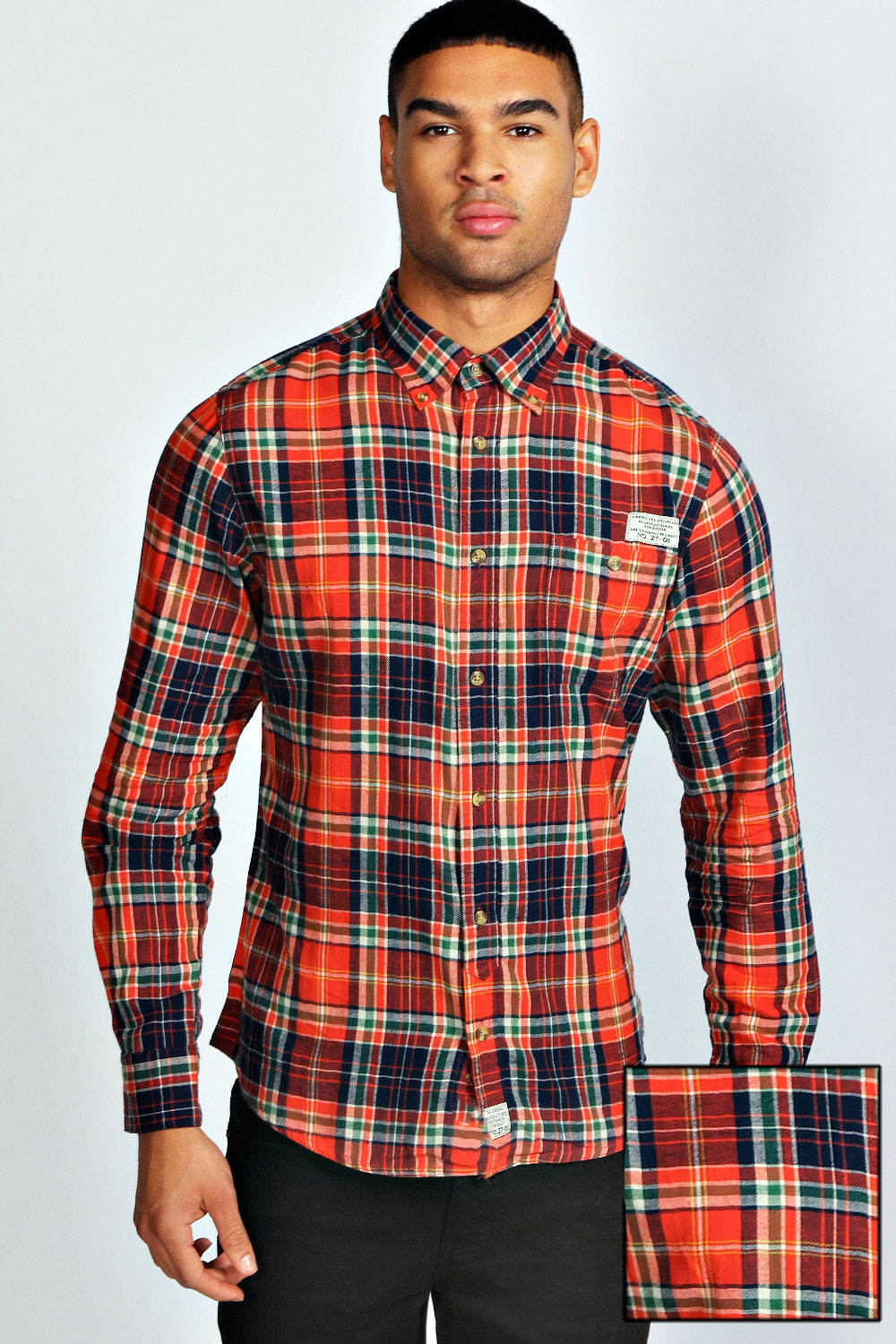 Boohoo-Mens-Long-Sleeve-Check-Top-Shirt-In-Multi
